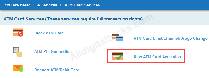 Activate SBI EMV Chip Debit card