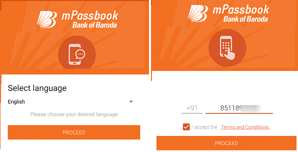Bank of Baroda mPassbook registration