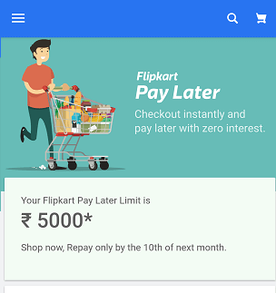 Flipkart pay Later check credit limit