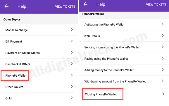 Permanent Delete Phonepe wallet