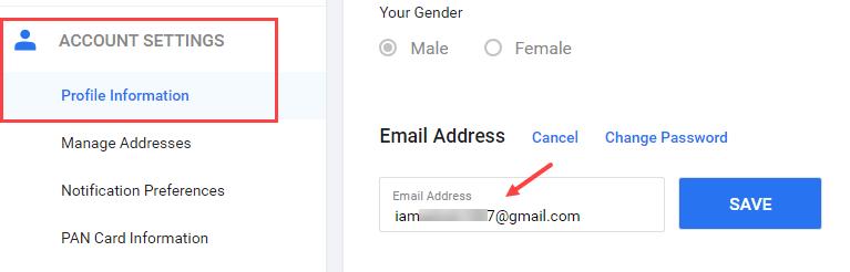 Flipkart change email