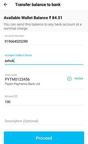 transfer money from paytm wallet to paytm payments bank account