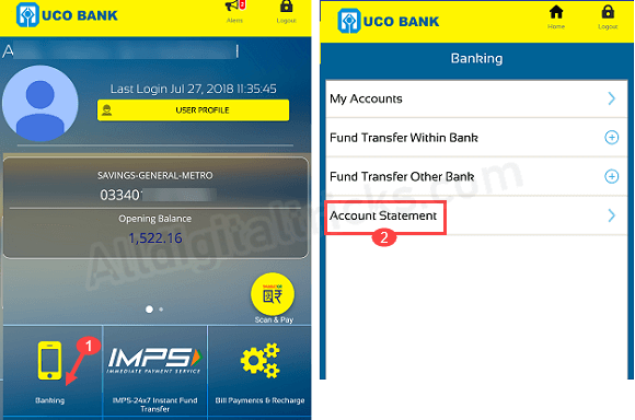 UCO Bank PDF Account statement