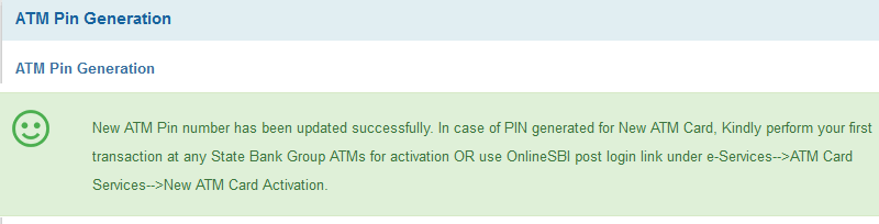 SBI ATM card pin change online