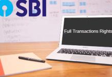 SBI net banking full transactions rights