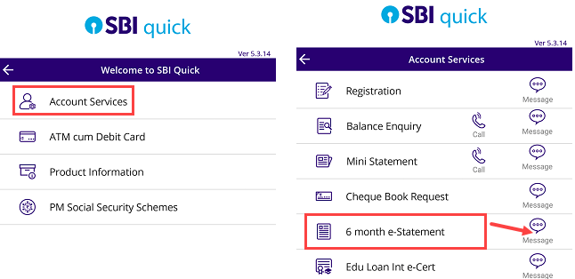 SBI last6 months statement to email address