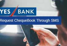 Yes Bank request Chequebook through SMS
