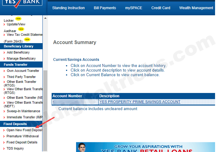 Yes Bank Open Fixed Deposit (FD) online