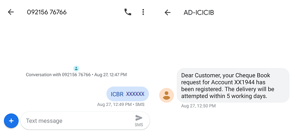 ICICI Cheque Book Request SMS