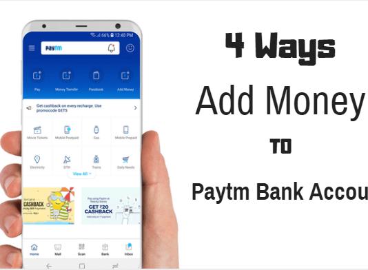 add money paytm saving bank account