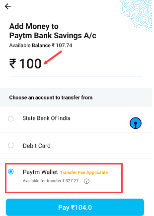 add money paytm saving bank account