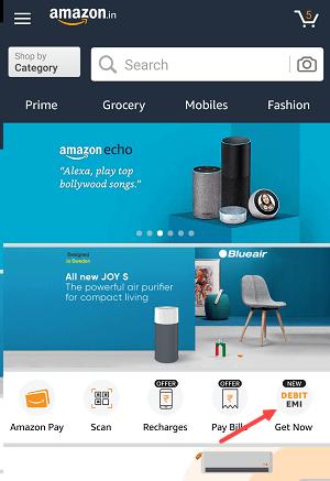 Amazon India Pay EMI Using Debit card