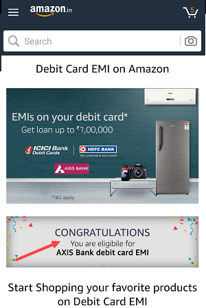 Amazon India Pay EMI Using Debit card