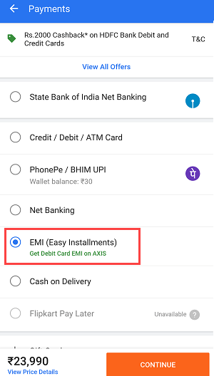 Flipkart EMI Debit card