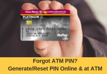 generate PNB Debit card ATM pin online and at ATM