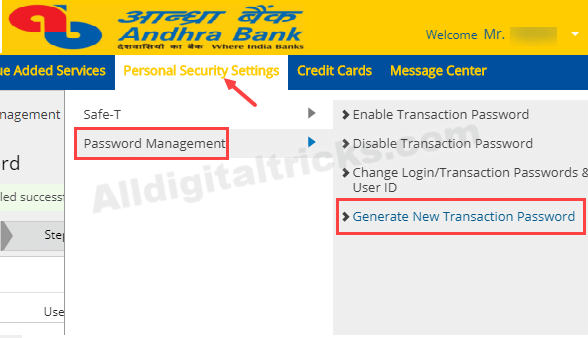 Andhra Bank net banking register online