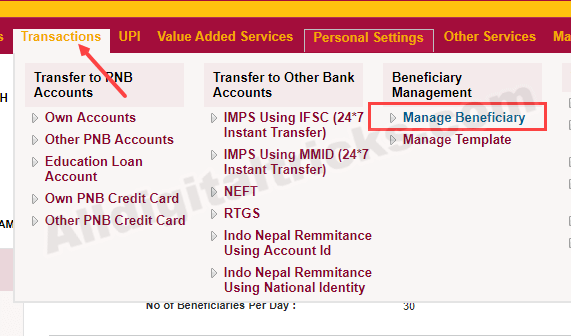 add beneficiary PNB net banking