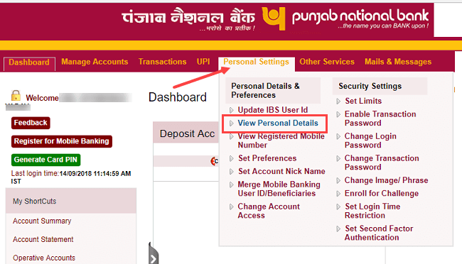 PNB Bank account register change email id