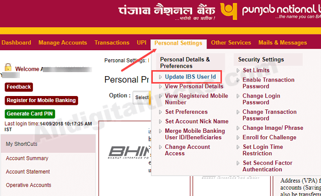 Change user id pnb net banking