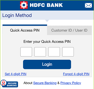 hdfc mobile banking login