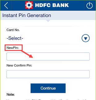 HDFC Bank Pin Generation Online