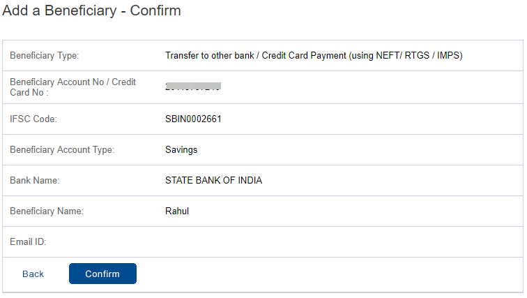 Add Beneficiary HDFC Bank