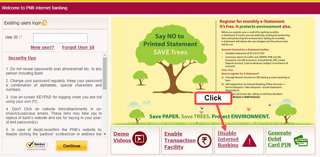 PNB net banking disable block
