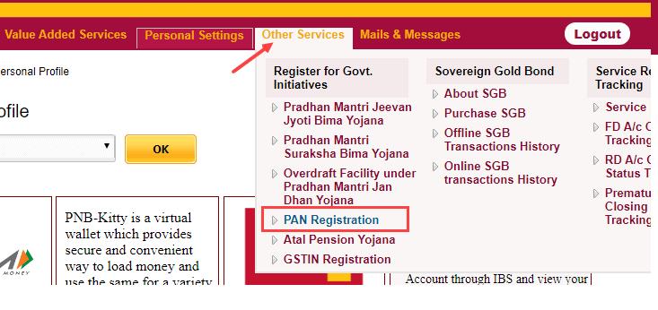 PNB pan card registration status