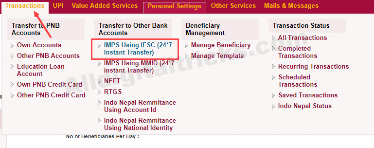 PNB to other bank fund transfer IMPS