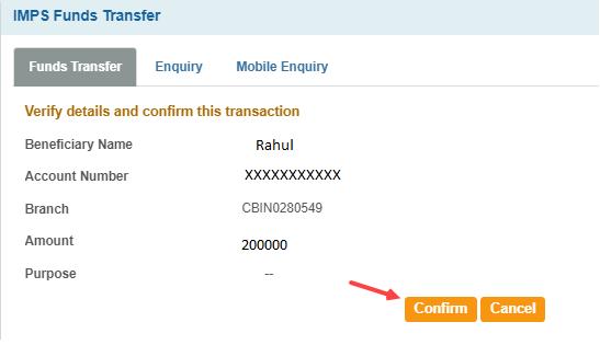 sbi imps transfer
