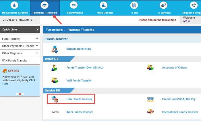 SBI Net banking other Bank money transfer