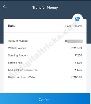 Mobikwik to Bank transfer money