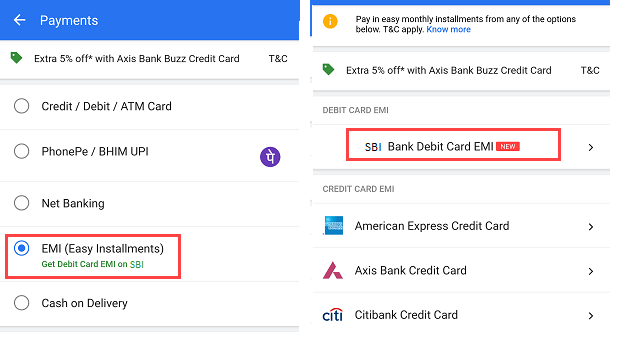 SBi Debit card EMI Flipkart