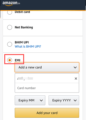 SBi Debit card EMI Amazon