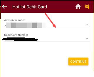Block PNB Debit card online