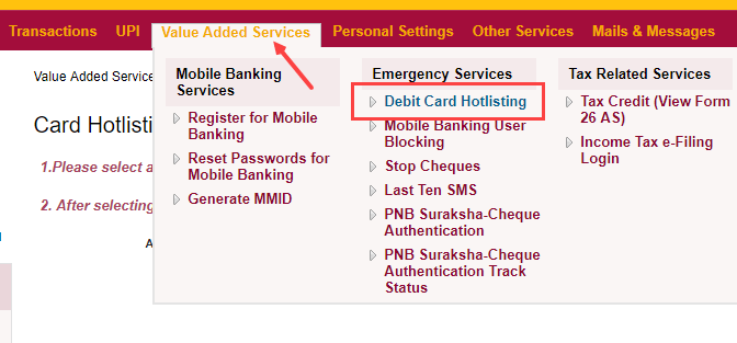 Block PNB Debit card online