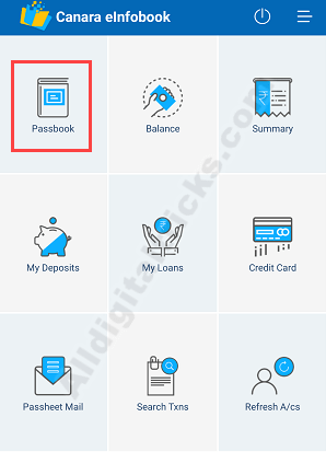 Canara Bank Passbook online on phone