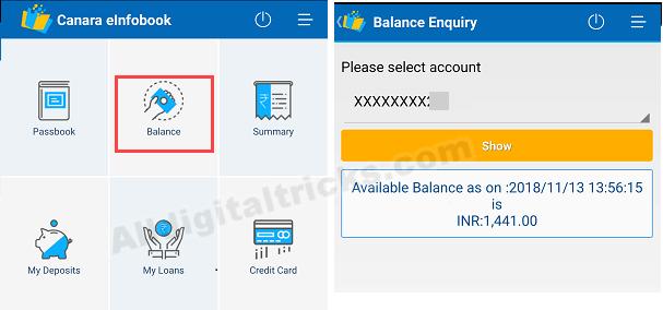Canara Bank Passbook online on phone