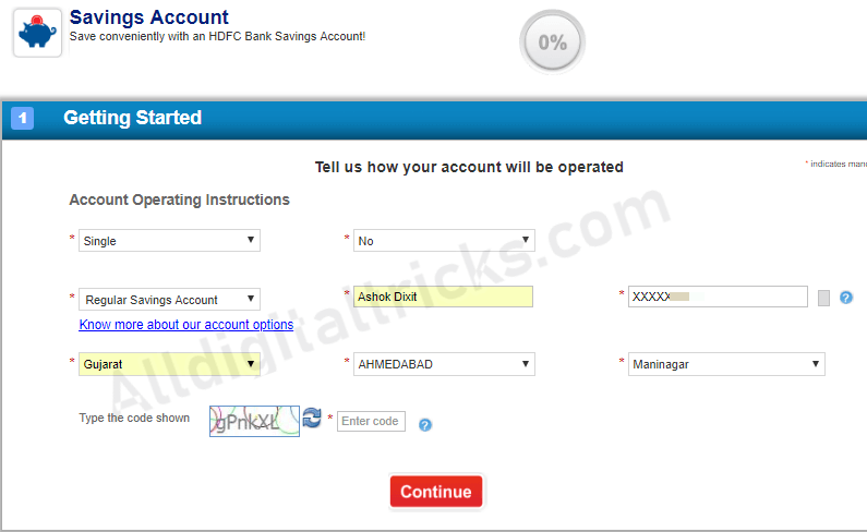 apply online HDFC Saving account