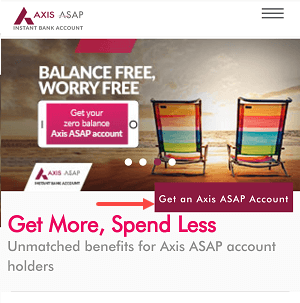 Axis ASAP account open online
