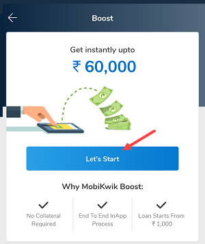 Mobikwik 60000 instant credit loan apply
