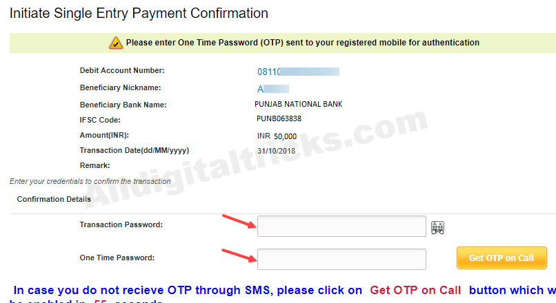 PNB to PNB money transfer net banking