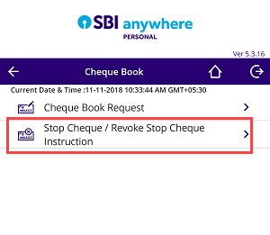 SBI Stop Cheque Payment online