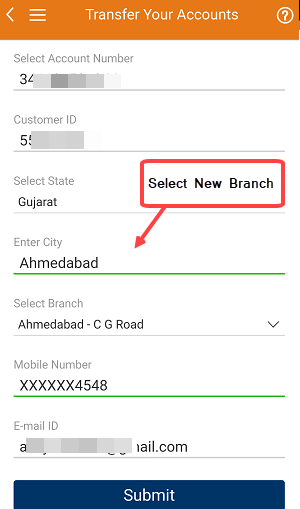 Transfer ICICI Account to another branch