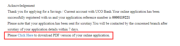 UCO Bank online account open