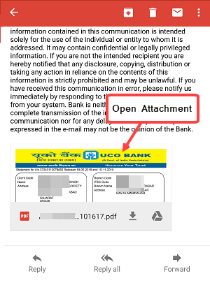 UCO Bank last six months statement