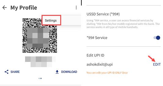 BHIM Create UPI ID, change UPI ID