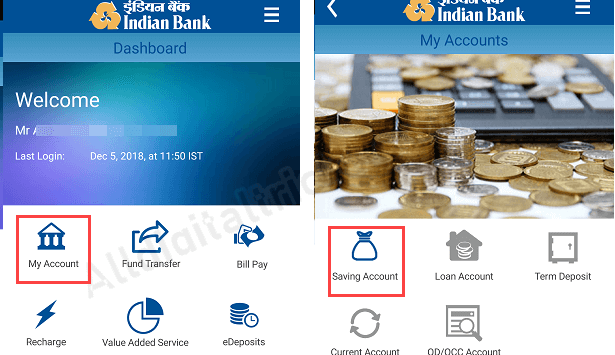 Indian Bank Mini Statement