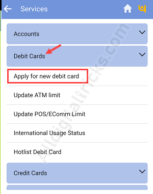 PNB apply Debit card online