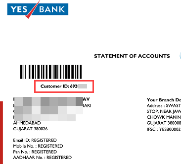 Yes Bank customer ID